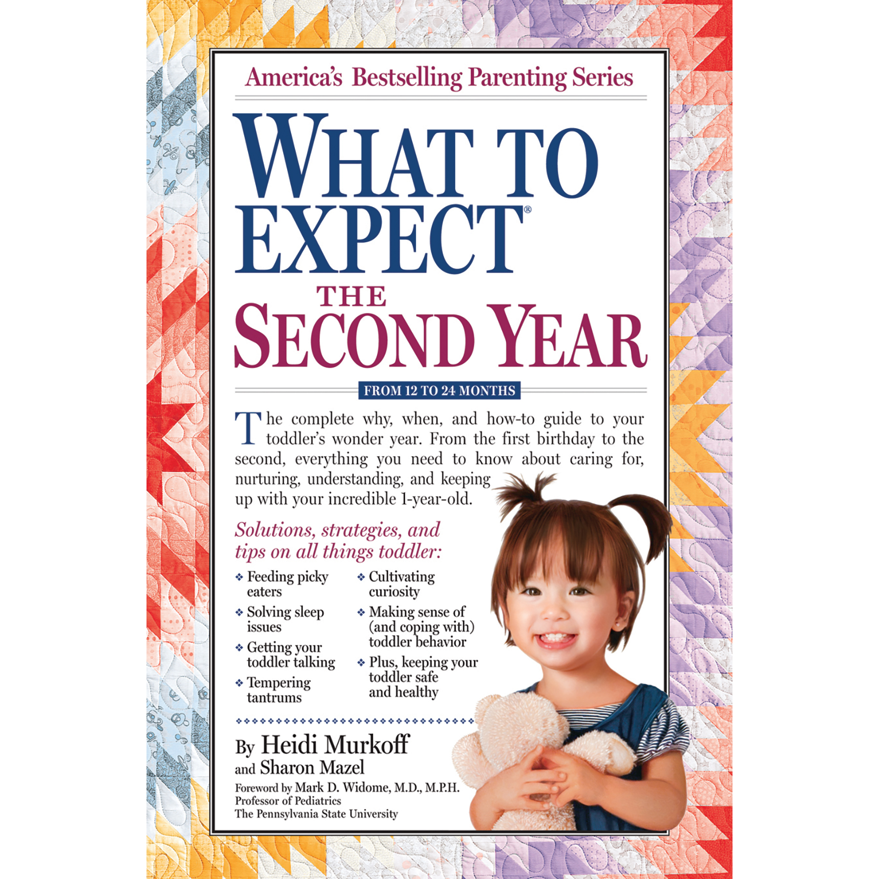 What to Expect the Second Year 12-24 months book cover, quilt background with toddler, Childbirth Graphics, 50928