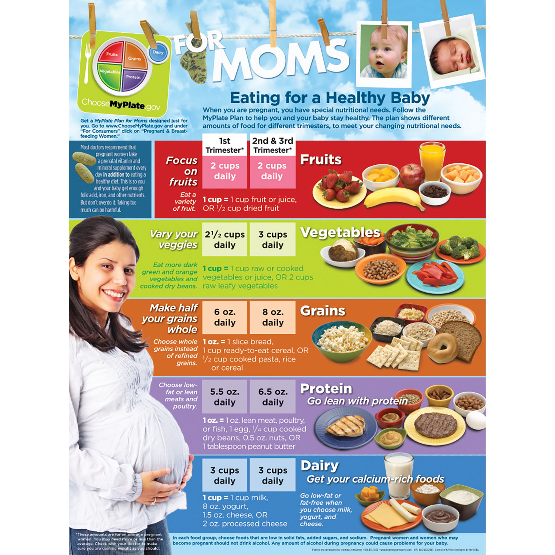 MyPlate for Expectant Moms Tear Pad English, nutrition guidelines healthy mom, Childbirth Graphics, 52048