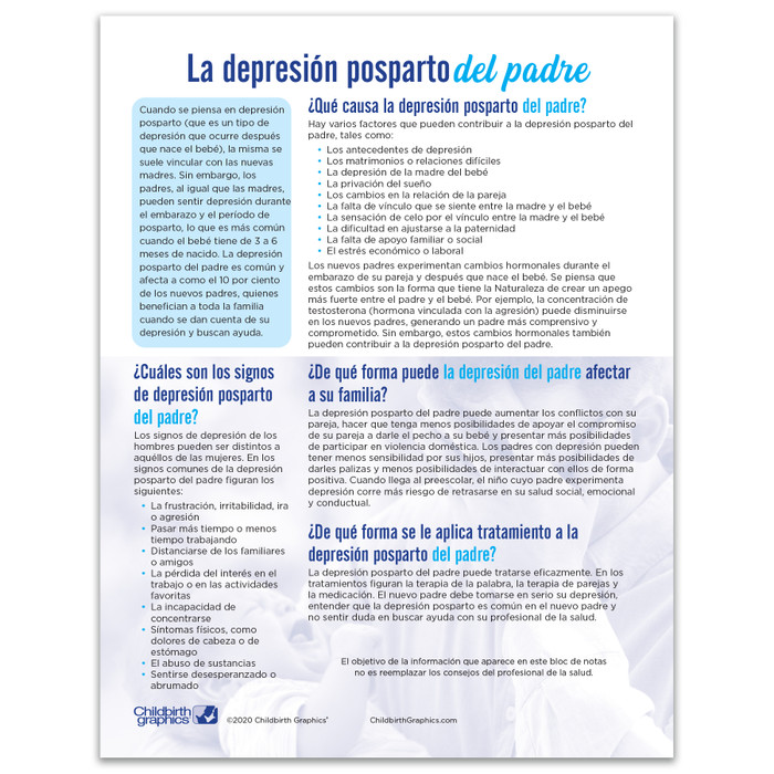 Postpartum Depression in Fathers Tear Pad from Childbirth Graphics, Spanish side handout to educate new dads, 52083