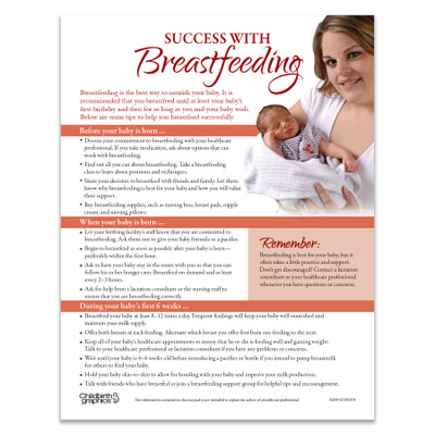 Success With Breastfeeding Tear Pad for lactation education by Childbirth Graphics, English side of breastfeeding tips, 52259