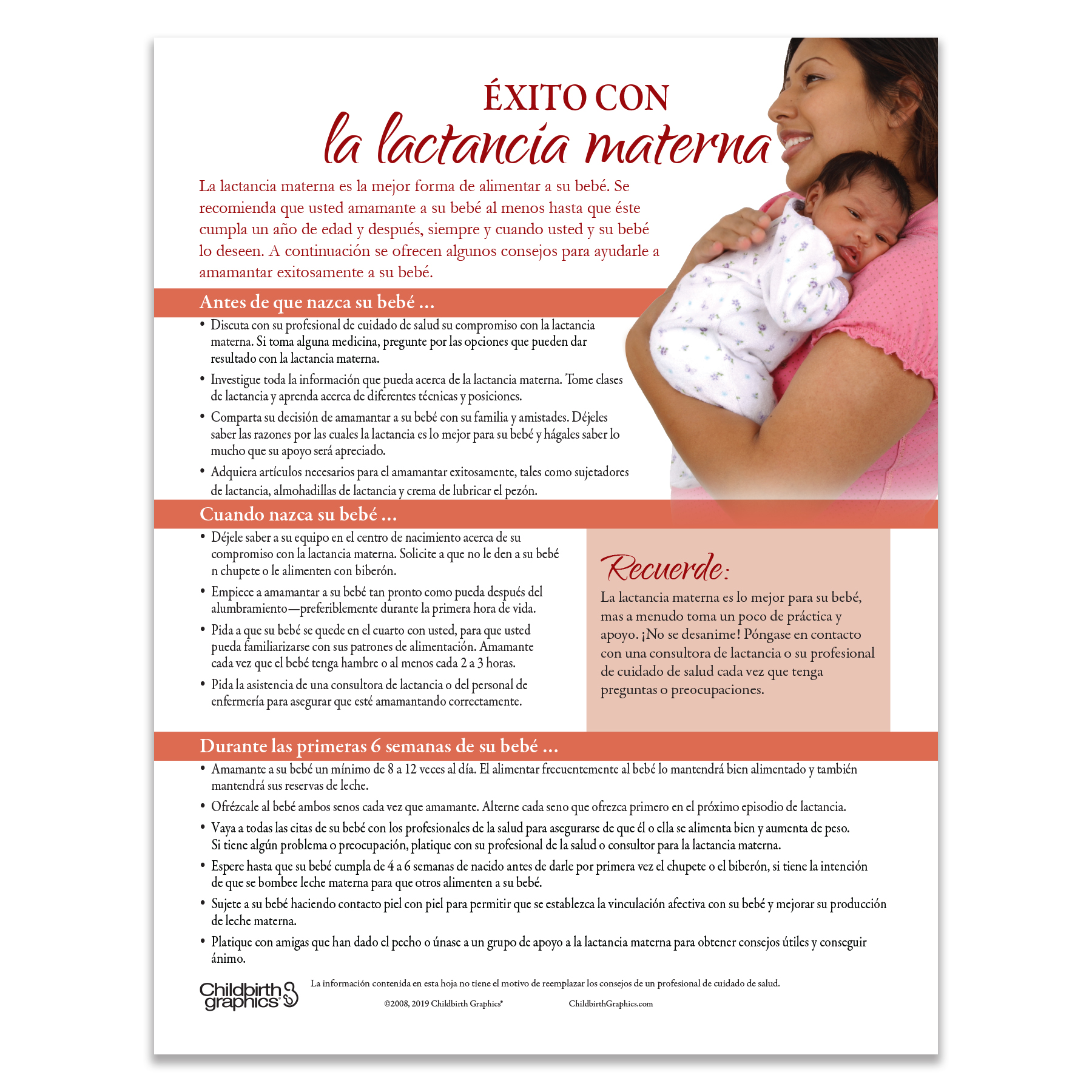 Success with Breastfeeding Tear Pad Spanish side, before birth, when born to 6 weeks, Childbirth Graphics, 52259