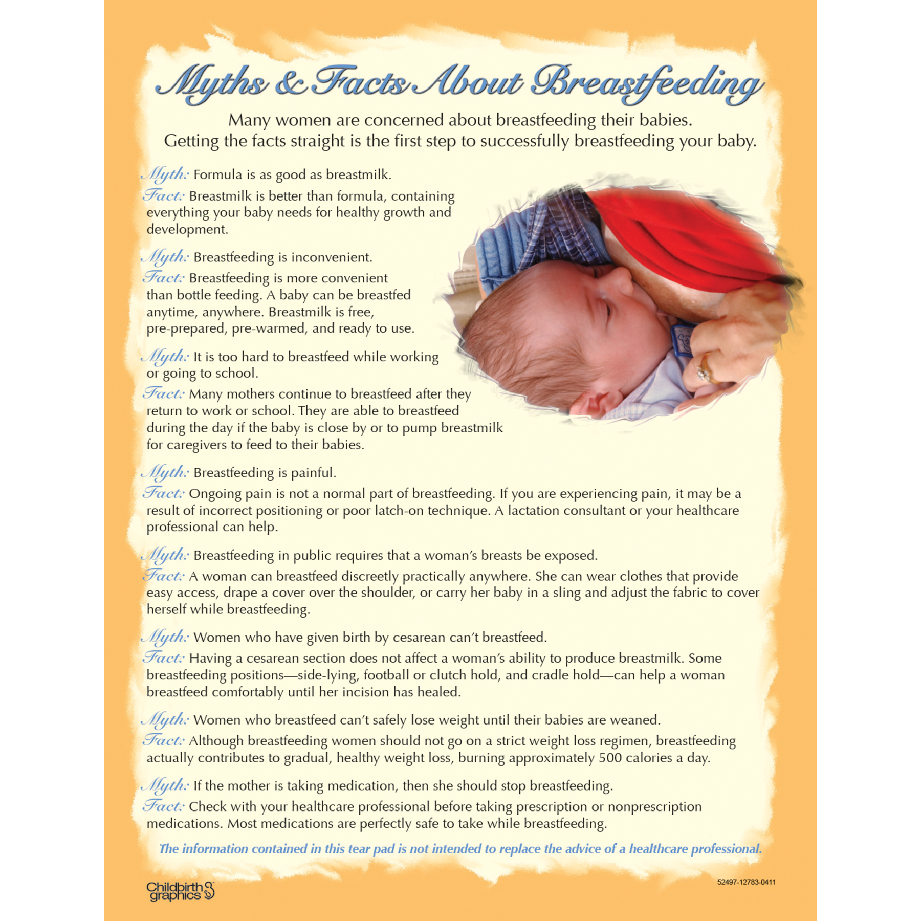 Myths & Facts About Breastfeeding full color Tear Pad, Childbirth Graphics, 52497