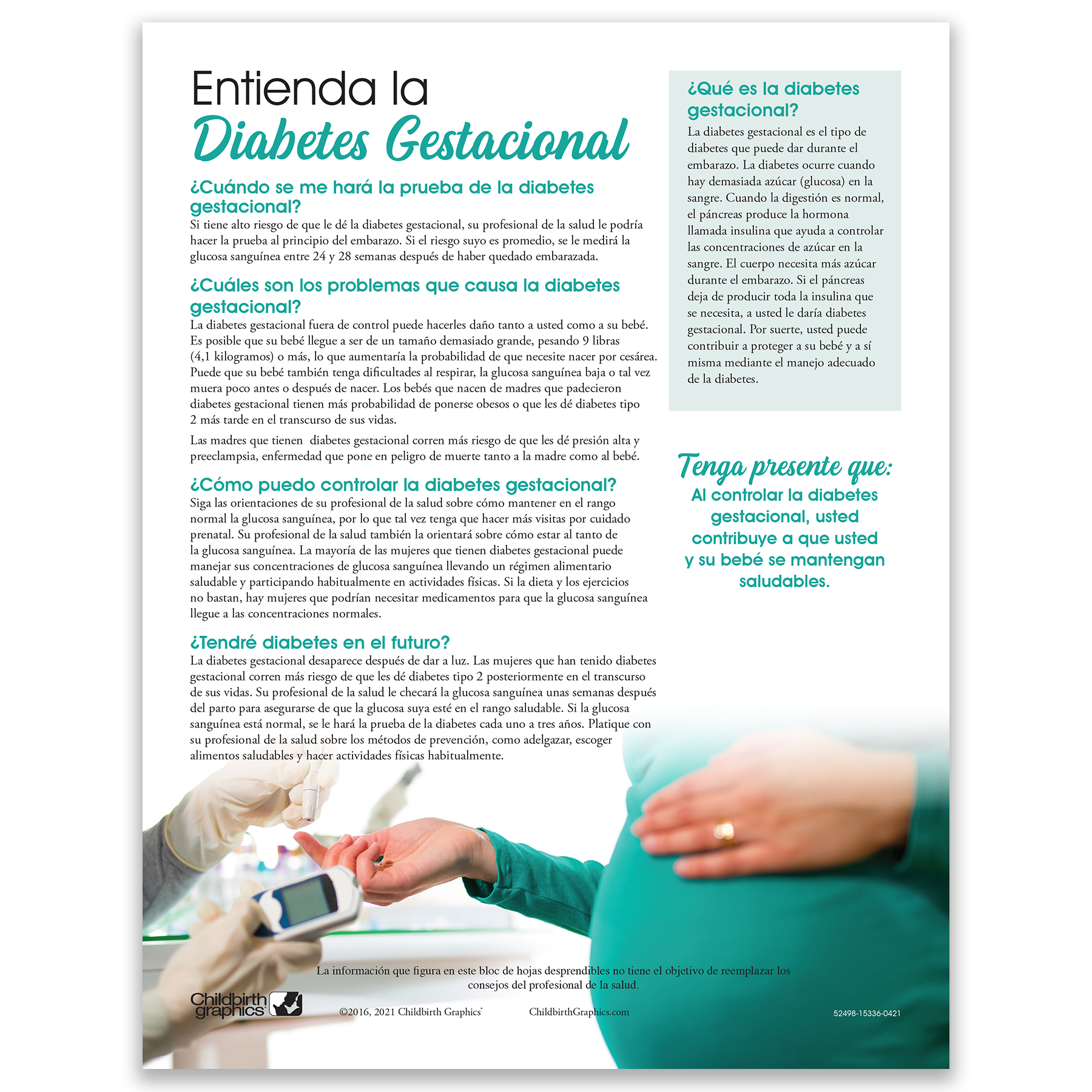 Understanding Gestational Diabetes 2-color Tear Pad Spanish side, Childbirth Graphics, 52498