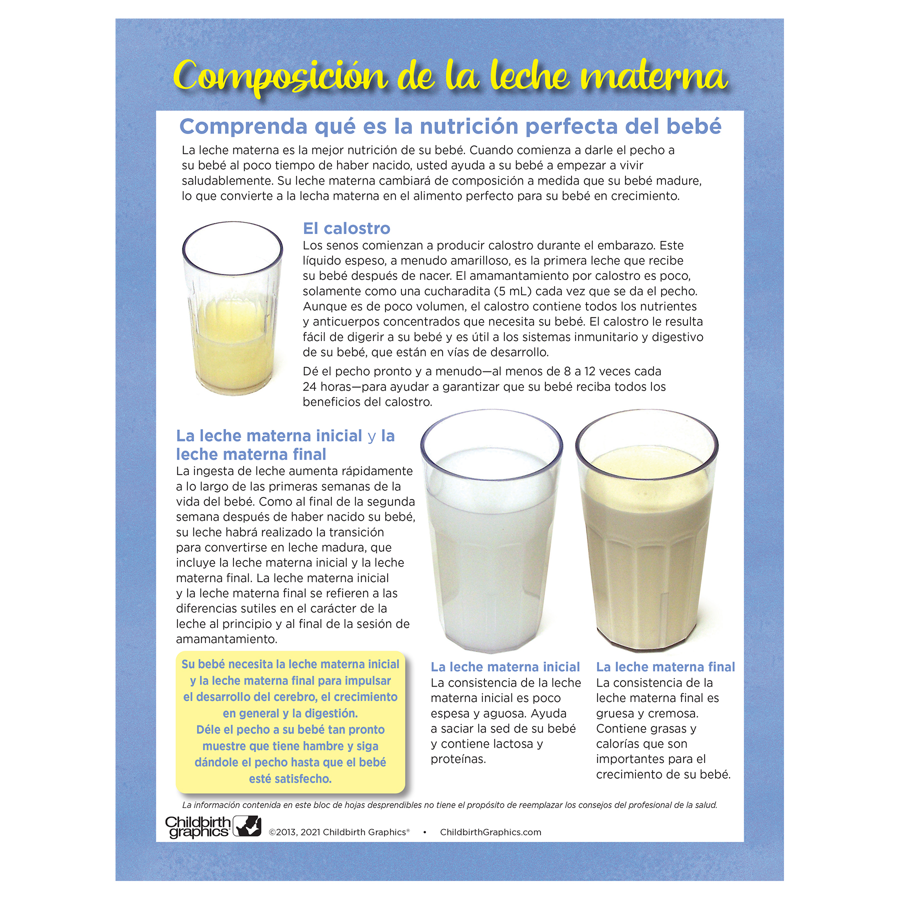 Breastmilk Composition full color tear pad Spanish side, explanation of 3 types of breastmilk, Childbirth Graphics, 52501