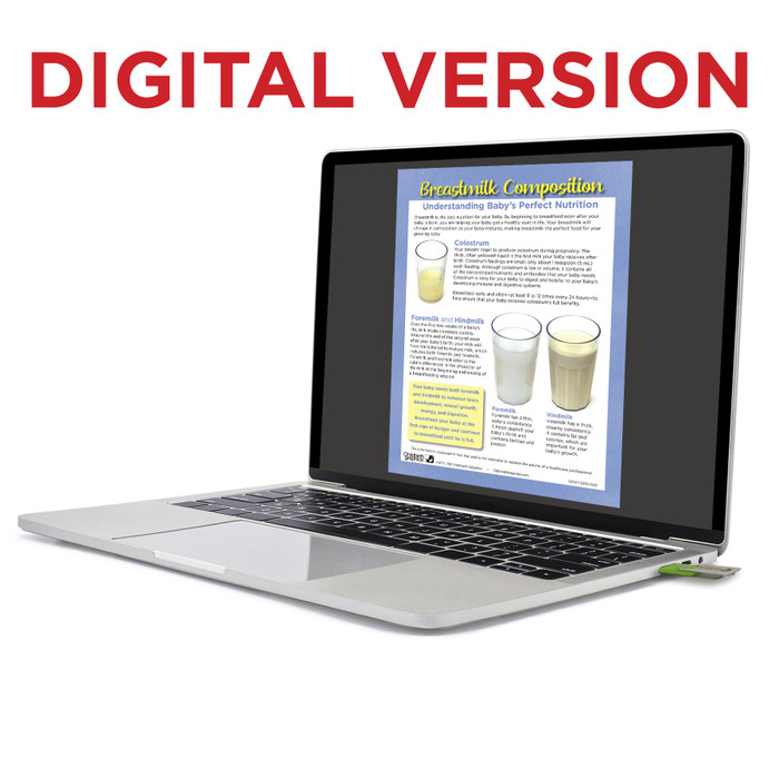 Breastmilk Composition Virtual Educational Resource, Childbirth Graphics lactation teaching tool on laptop screen, 52501V