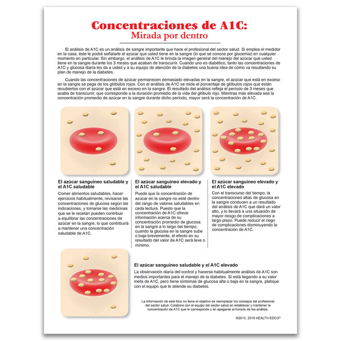 A1C Levels: An Inside Look tear pad for diabetes education from Health Edco, Spanish side explaining the A1C test, 52503