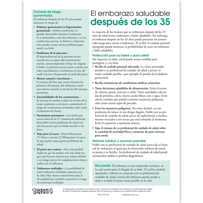 Healthy Pregnancy After Age 35 2-color tear pad Spanish side, risk factors and healthy choices, Childbirth Graphics, 52505