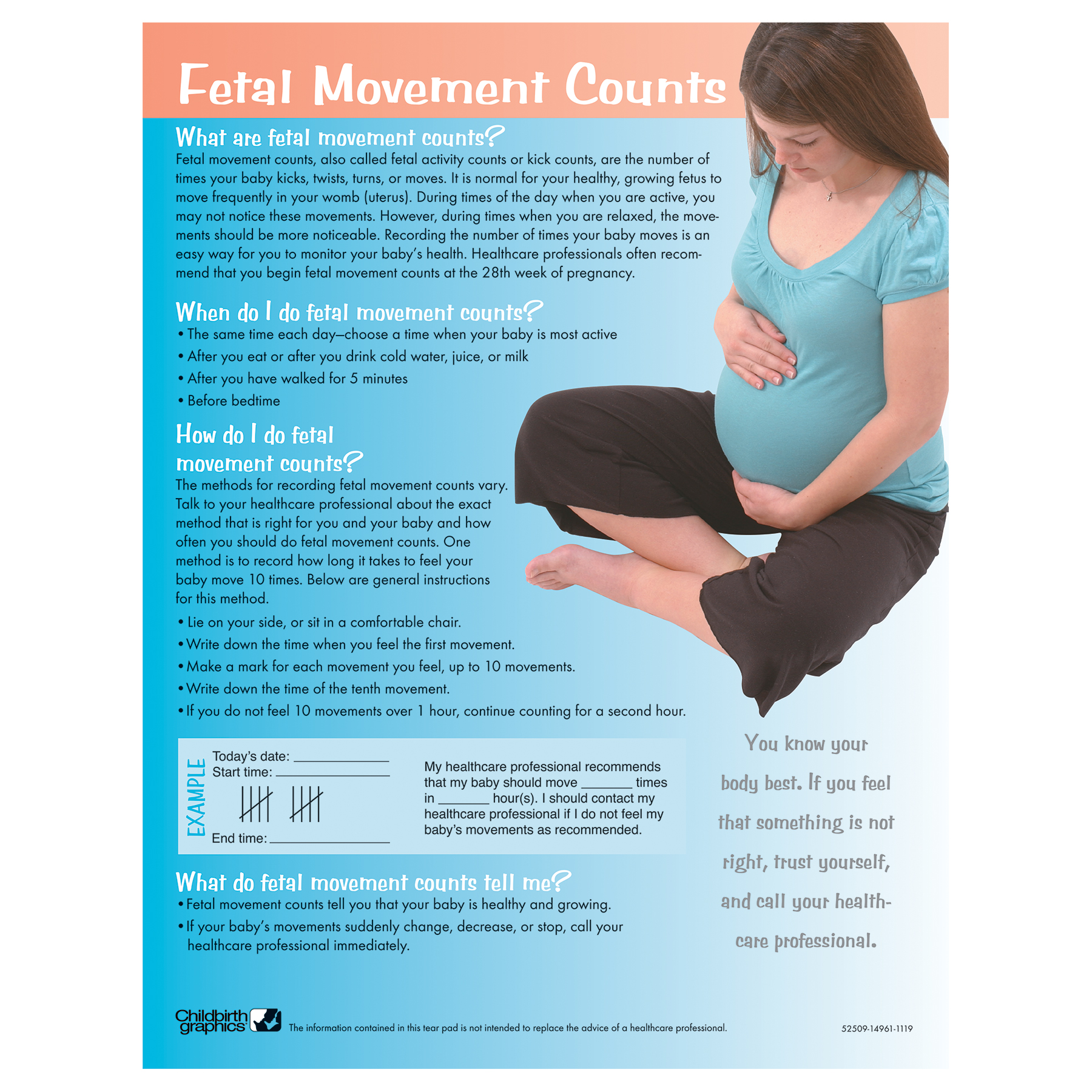 Fetal Movement Counts Tear Pad when how what they mean, Childbirth Graphics, 52509