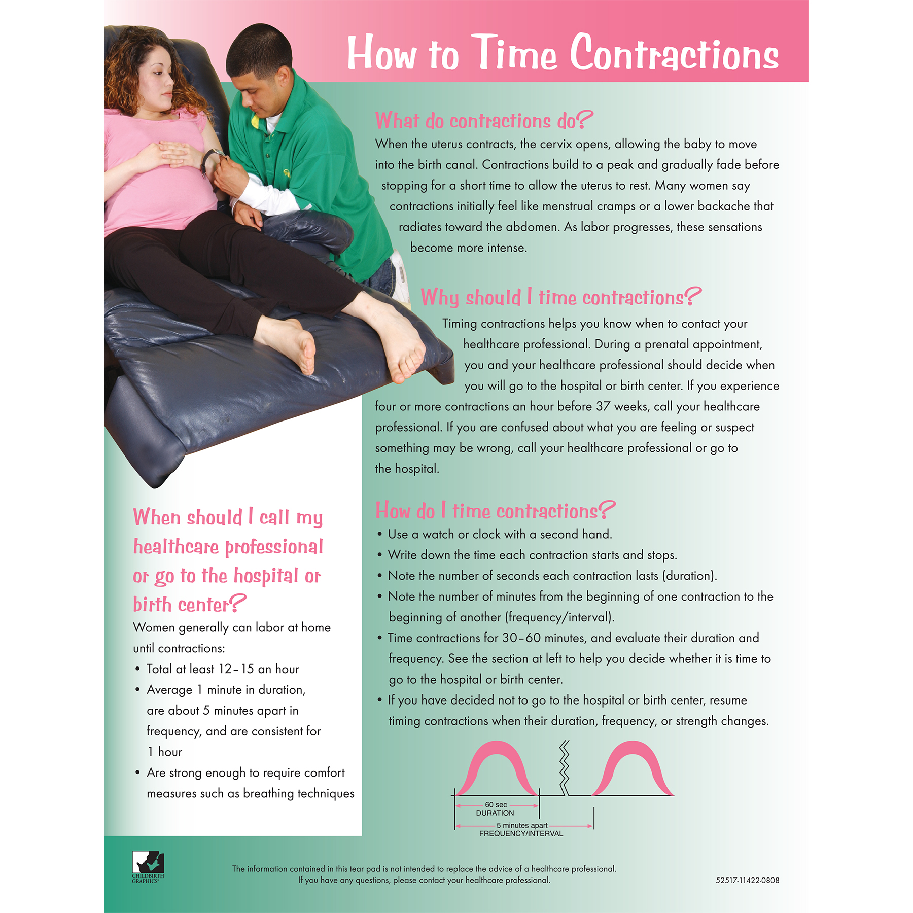 How to Time Contractions 4-color tear pad, questions answers diagram, Childbirth Graphics, 52517