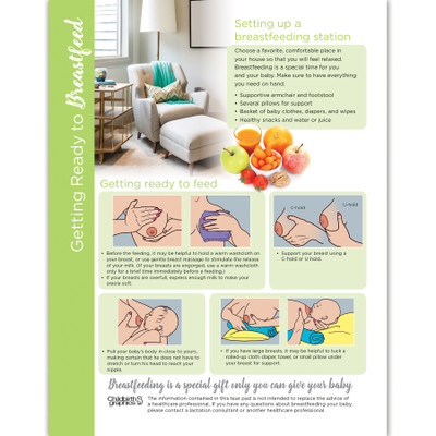 Getting Ready to Breastfeed 4-color tear pad, how to illustrations, Childbirth Graphics, 52518