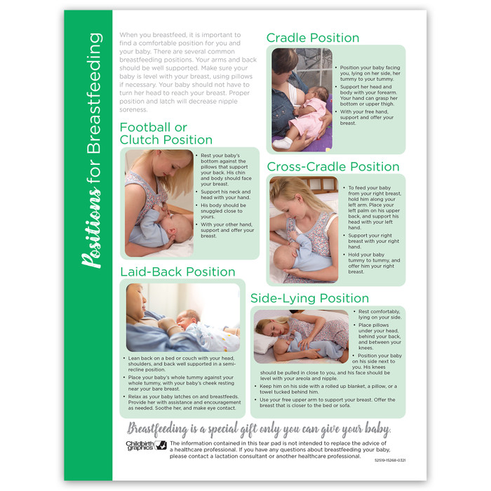 Positions for Breastfeeding 4-color Tear Pad, 5 breastfeeding positions, Childbirth Graphics, 52519