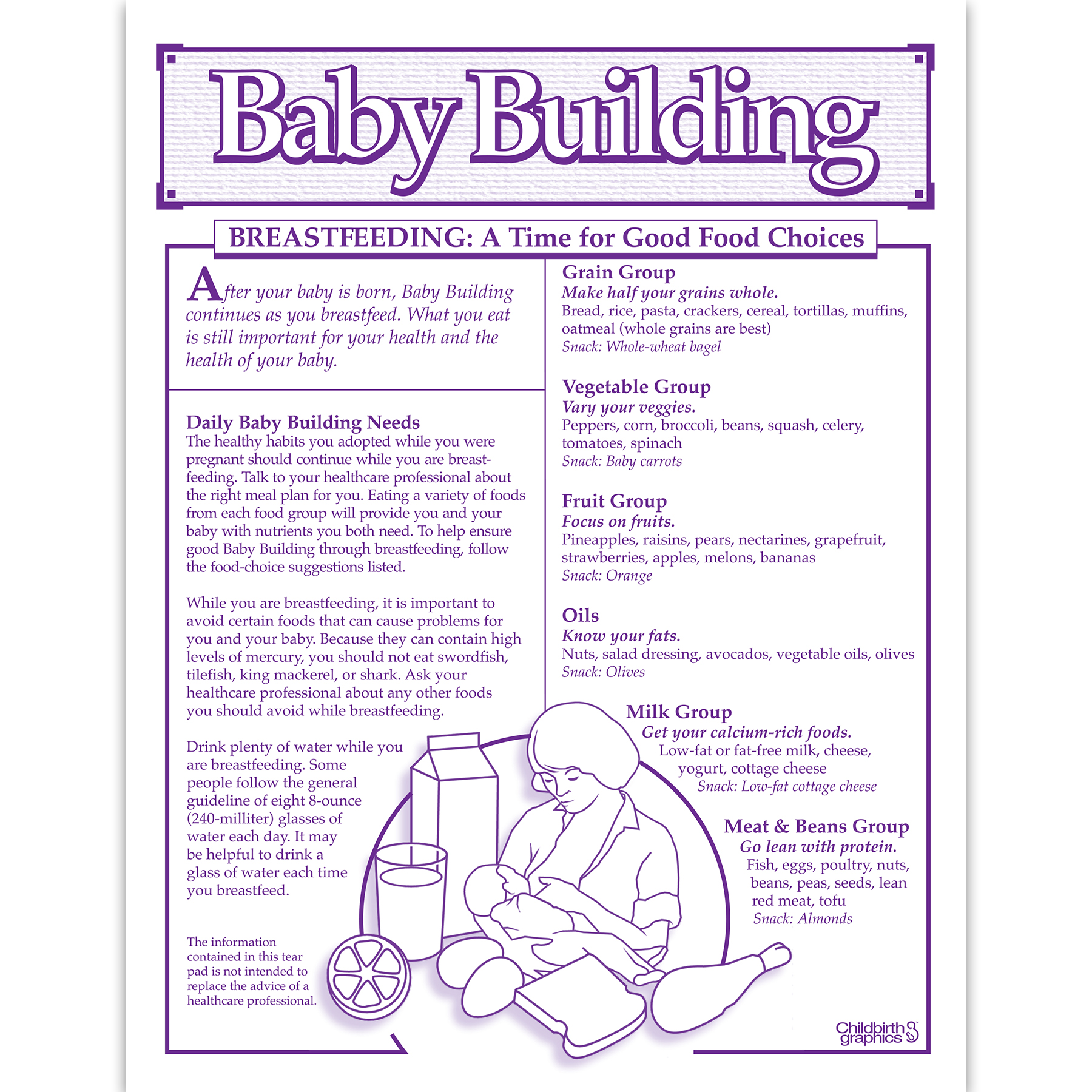 Baby Building 1-color Breastfeeding tear pad English side, good food choices nutritional needs, Childbirth Graphics, 52523