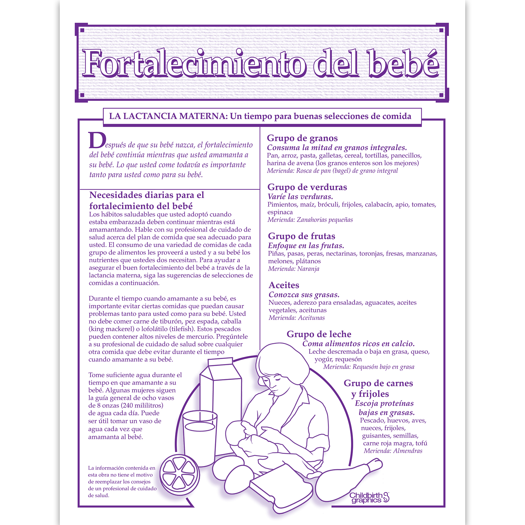 Baby Building 1-color Breastfeeding tear pad Spanish side, good food choices nutritional needs, Childbirth Graphics, 52523