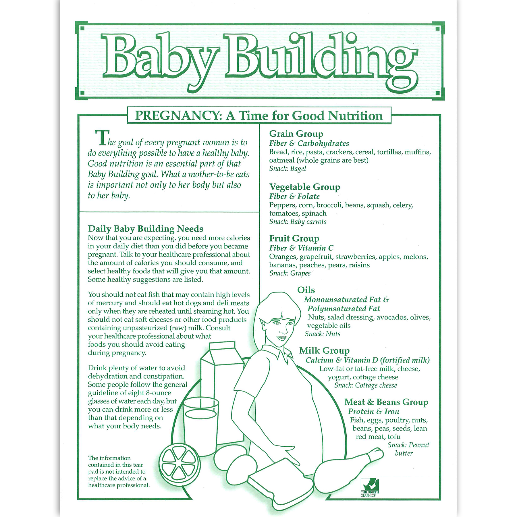 Baby Building Pregnancy Nutrition 1-color tear pad, daily nutritional needs, Childbirth Graphics, 52526