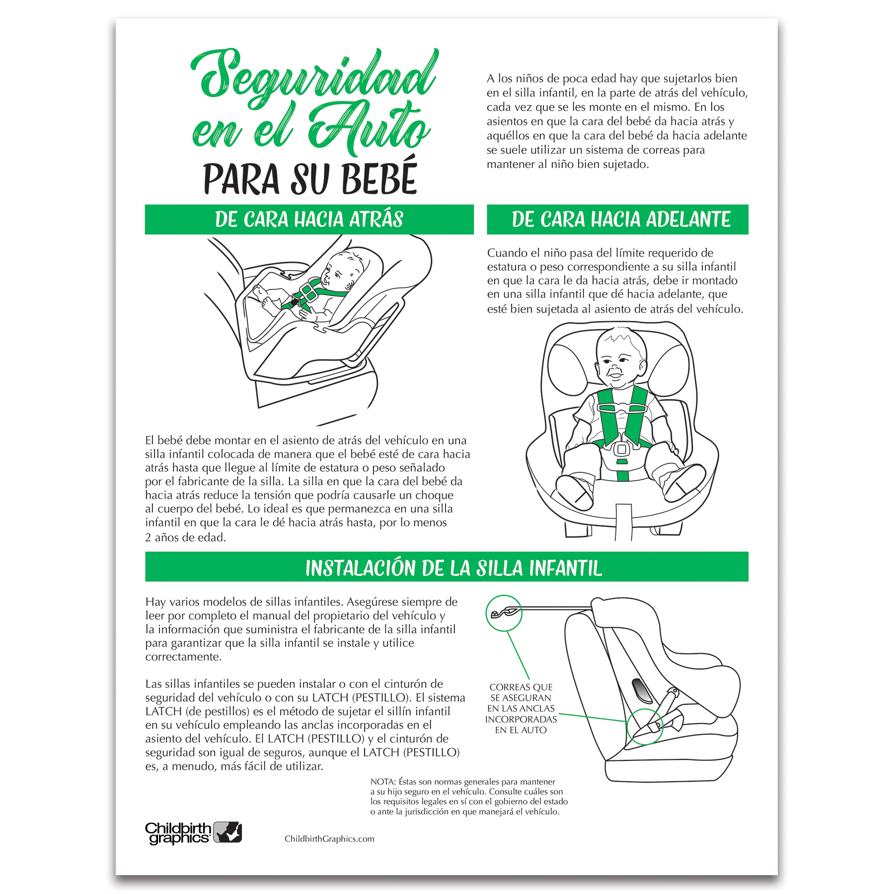 Car Safety for Your Baby 2-color illustrated tear pad Spanish side, car seat guidelines, Childbirth Graphics, 52528