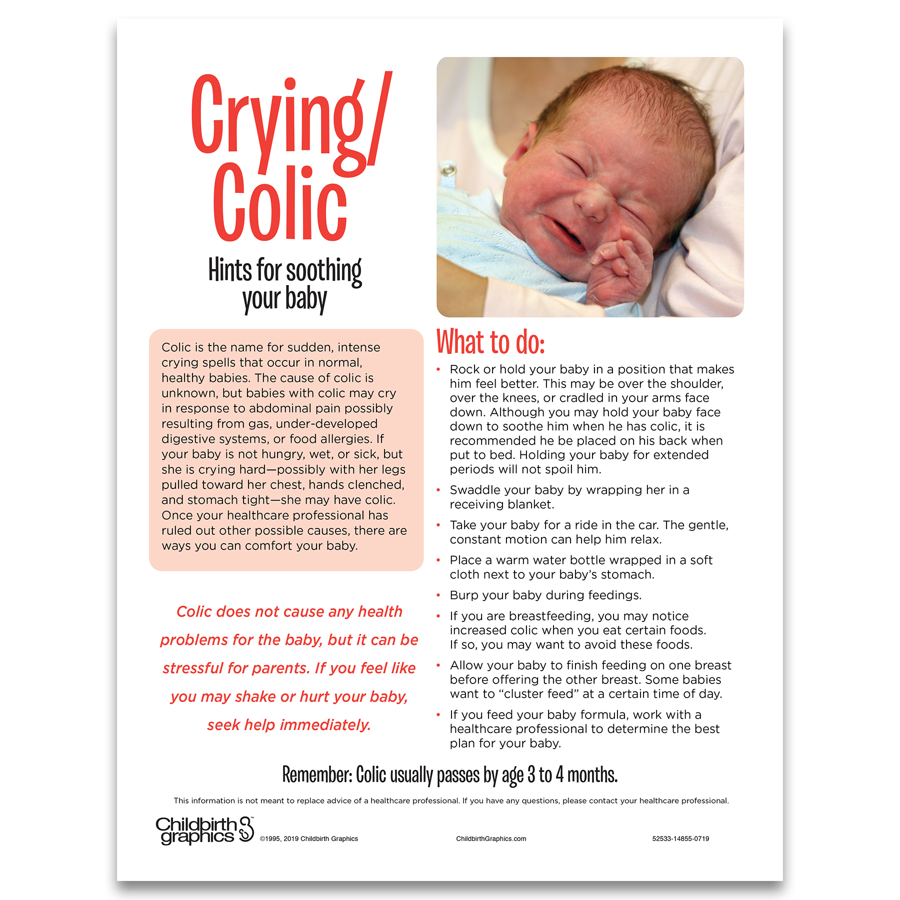 Crying Colic 2-color illustrated tear pad English side, hints for soothing baby, Childbirth Graphics, 52533