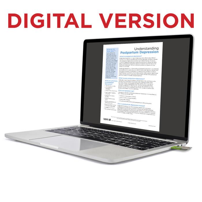 Understanding Postpartum Depression Virtual Educational Resource, Childbirth Graphics teaching tool shown on laptop, 52540V