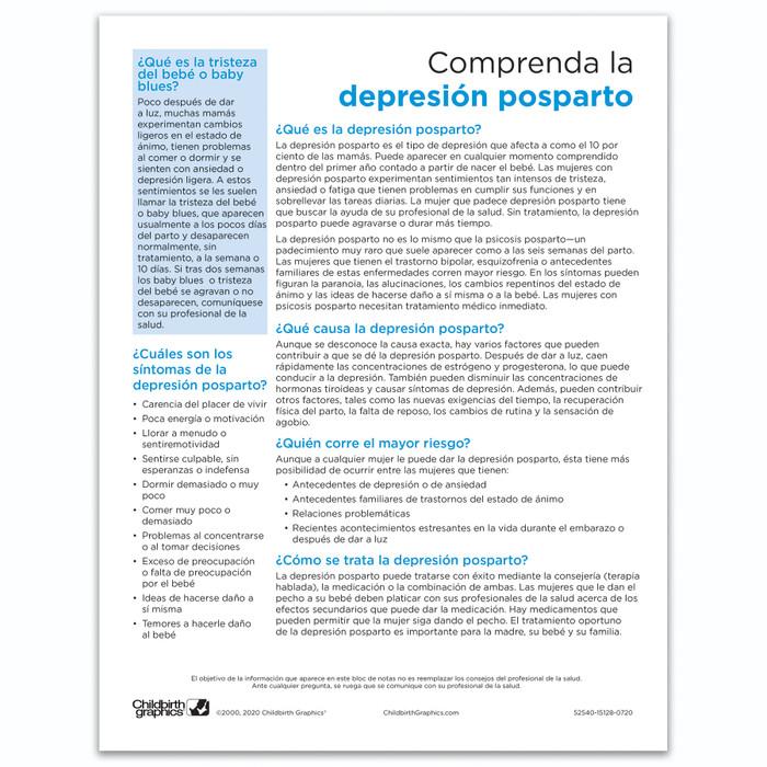 Understanding Postpartum Depression Tear Pad, Virtual, Childbirth Graphics digital educational resource, Spanish side, 52540V