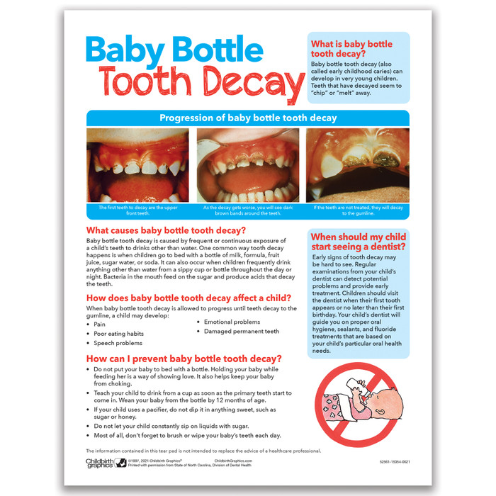Baby Bottle Tooth Decay 2-color tear pad English side, baby tooth decay causes and prevention, Health Edco, 52561