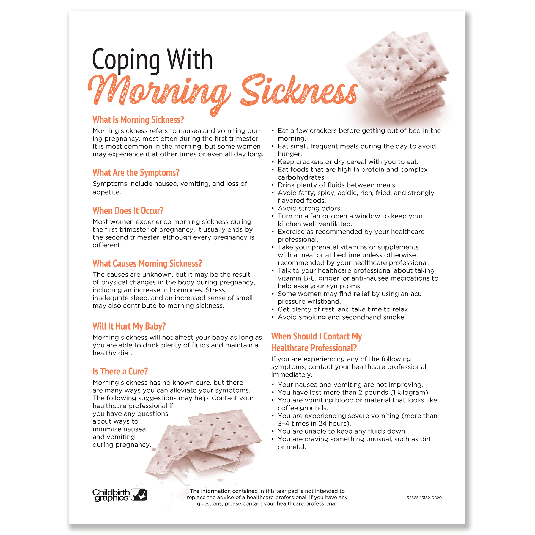 Coping with Morning Sickness 2-color tear pad, definition & suggestions to lessen morning sickness, Childbirth Graphics 52565