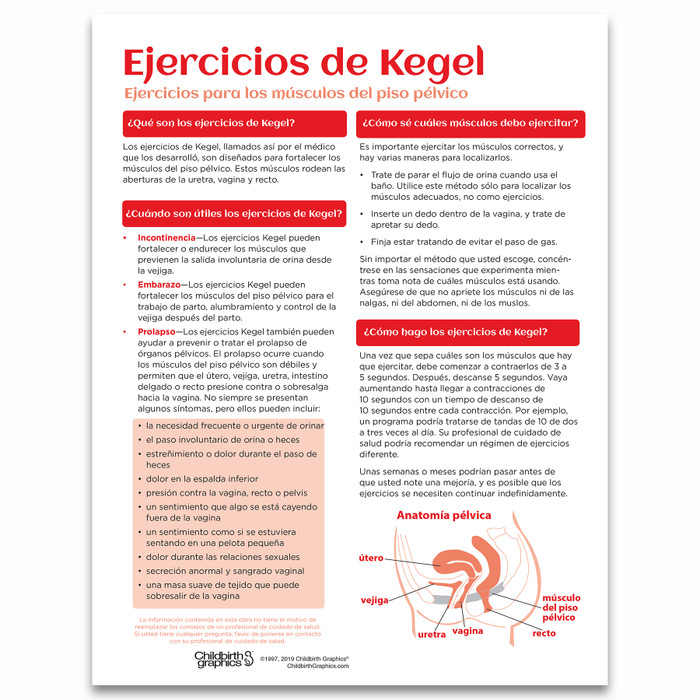 Kegel Exercises Tear Pad for childbirth education from Childbirth Graphics with English and Spanish text, Spanish side, 52566