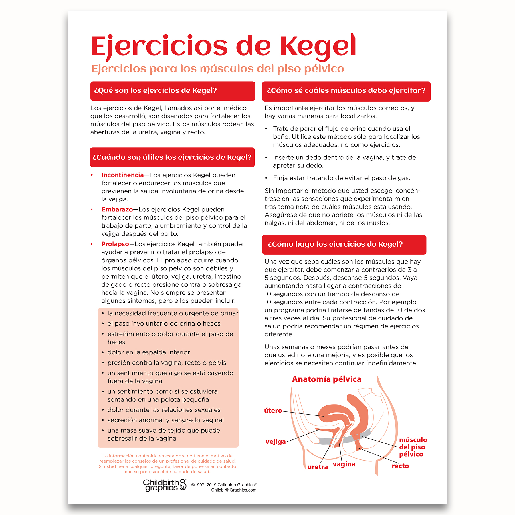 Kegel Exercises 2-color illustrated tear pad Spanish side, what when how to do Kegel Exercises, Childbirth Graphics, 52566