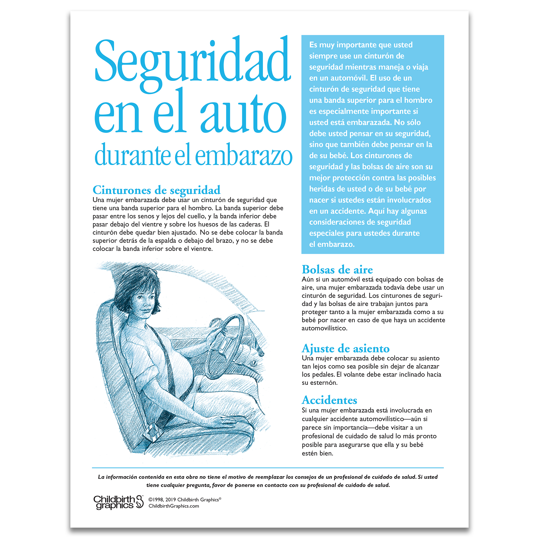 Car Safety During Pregnancy 1 color tear pad Spanish side, seat belts air bags adjustments, Childbirth Graphics 52574