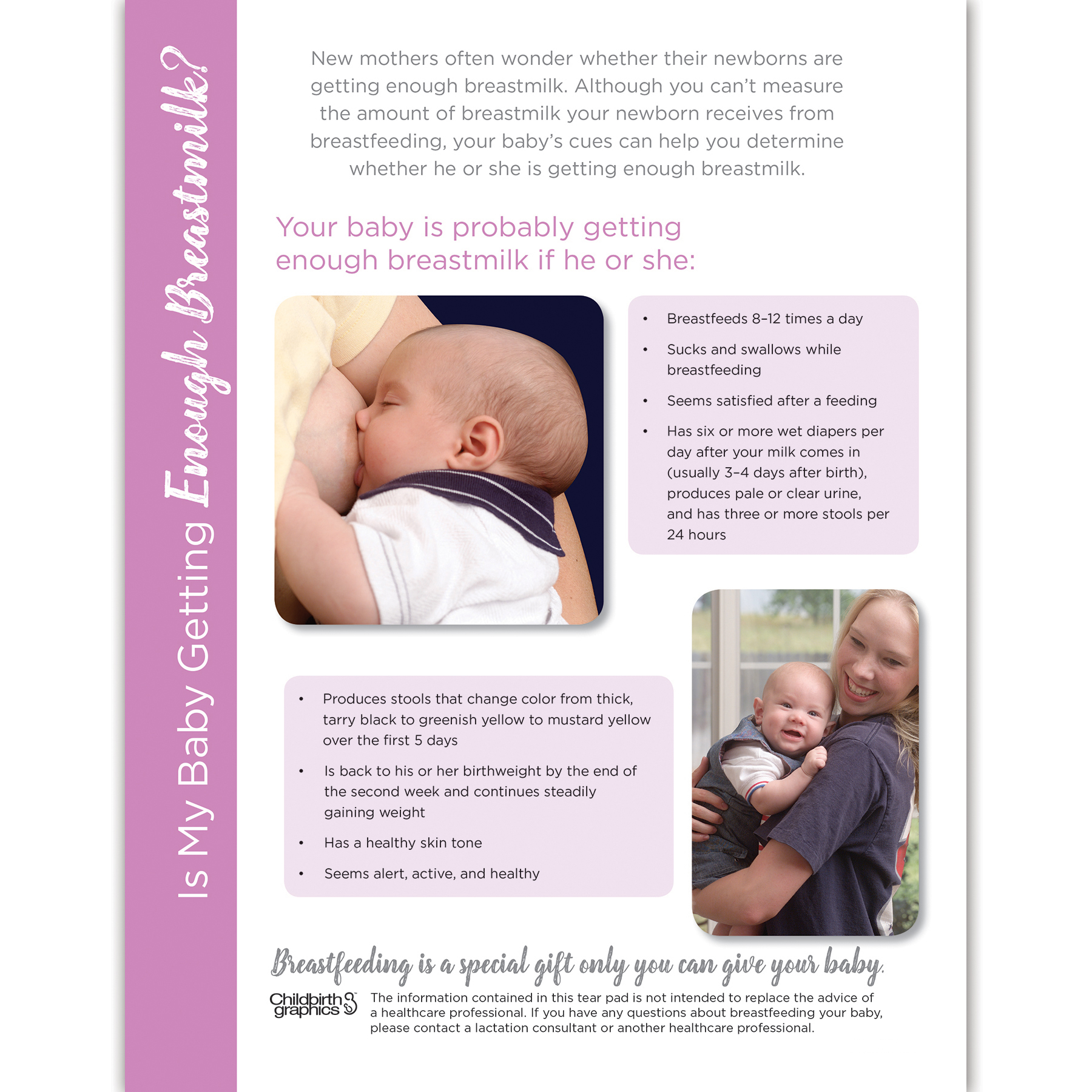 Is My Baby Getting Enough Breastmilk full-color tear pad, signs that baby is getting enough with 2 photos, Childbirth Graphics 52592