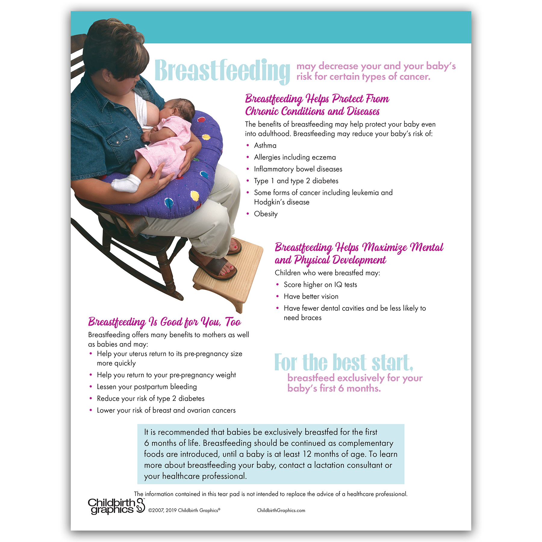 Why Should I Breastfeed My Baby tear pad for childbirth and lactation education from Childbirth Graphics, back side, 52594