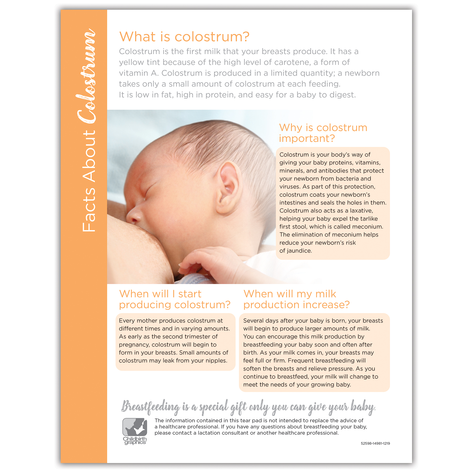 Facts About Colustrum full-color tear pad, what part colustrum plays in breastfeeding, Childbirth Graphics 52598