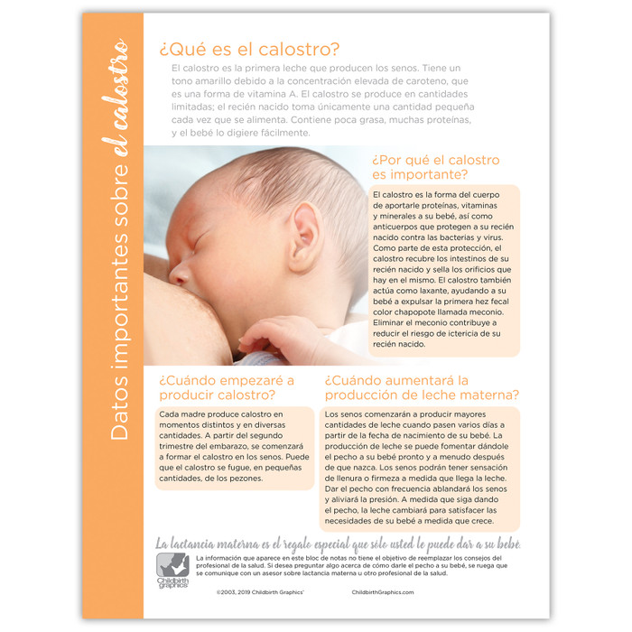 Facts About Colostrum Tear Pad virtual, digital format for breastfeeding education by Childbirth Graphics, bilingual, 52598V