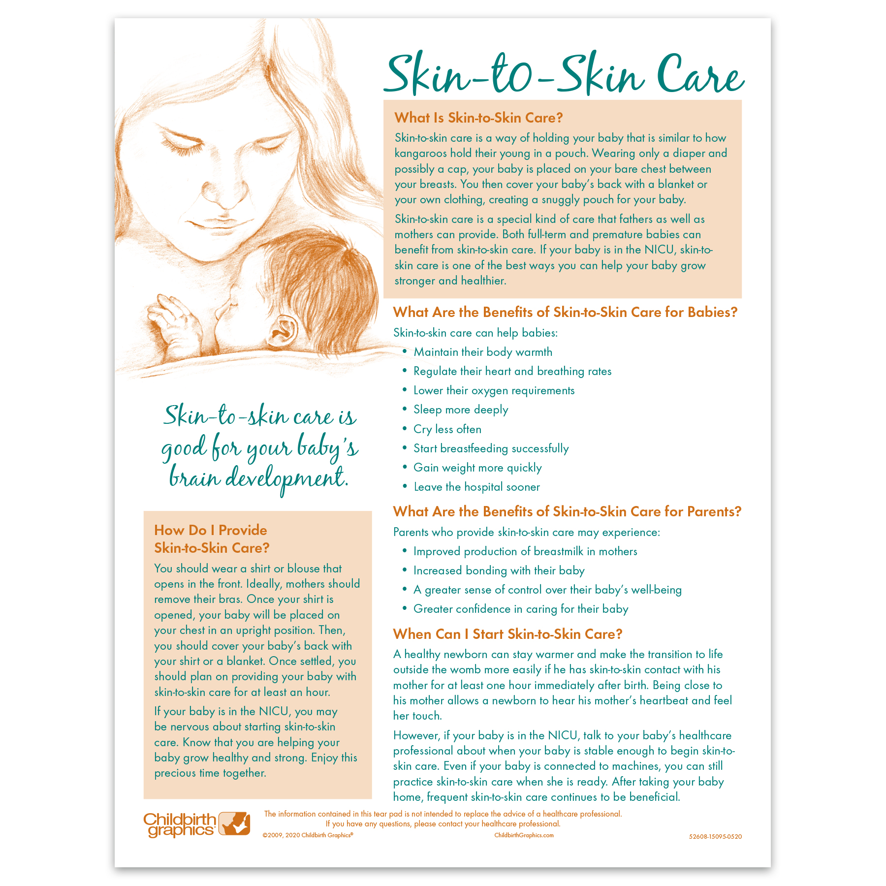 Skin to Skin Tear Pad for parent education by Childbirth Graphics, English side to teach kangaroo care of infants, 52608