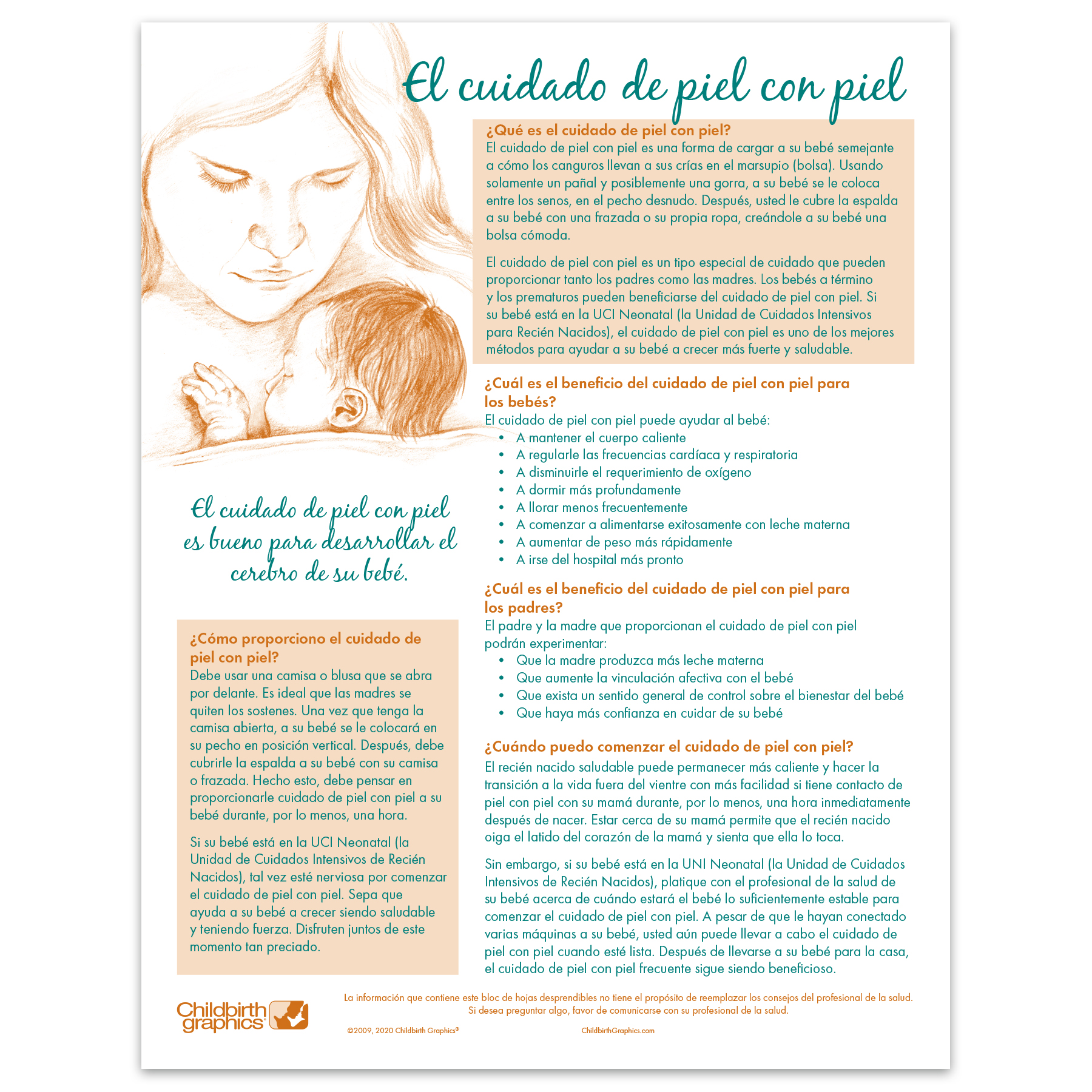 Skin to Skin Care illustrated 2-color tear pad Spanish side, benefits for baby and parents, Childbirth Graphics 52608