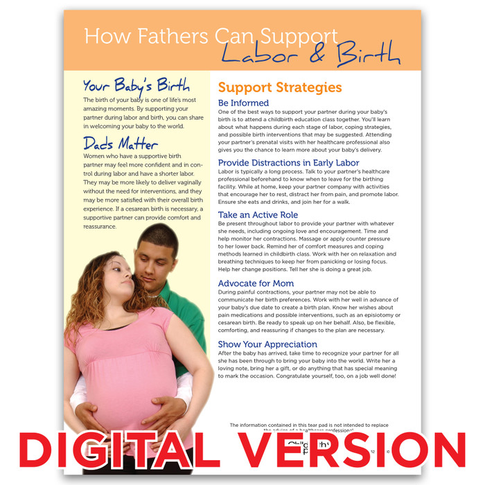 How Fathers Can Support Labor and Birth Tear Pad, Virtual, Childbirth Graphics digital childbirth education resource, 52619V