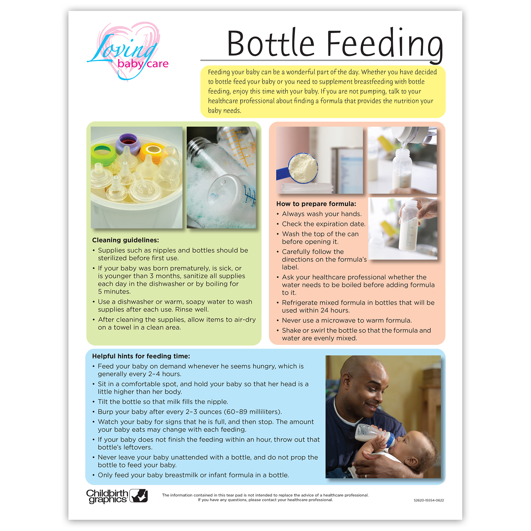 Bottle Feeding Your baby full-color tear pad, color blocks list what you need how to prepare formula, Childbirth Graphics 52620