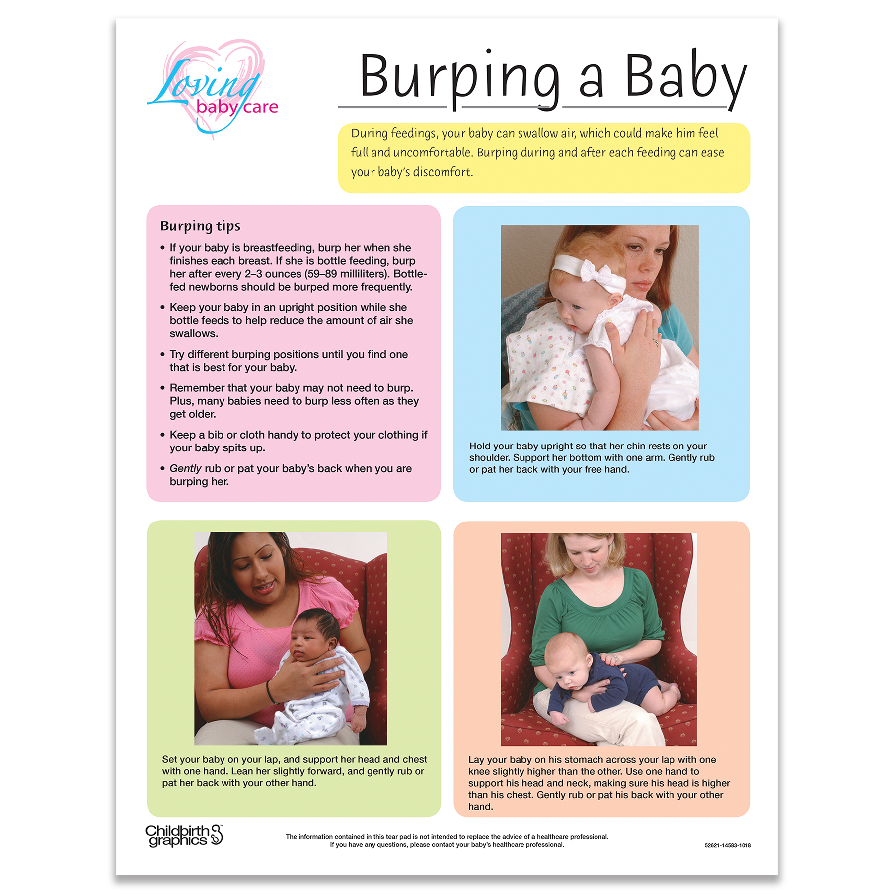 Burping a baby full-color tear pad, color blocks list tips and positions for purping, Childbirth Graphics 52621