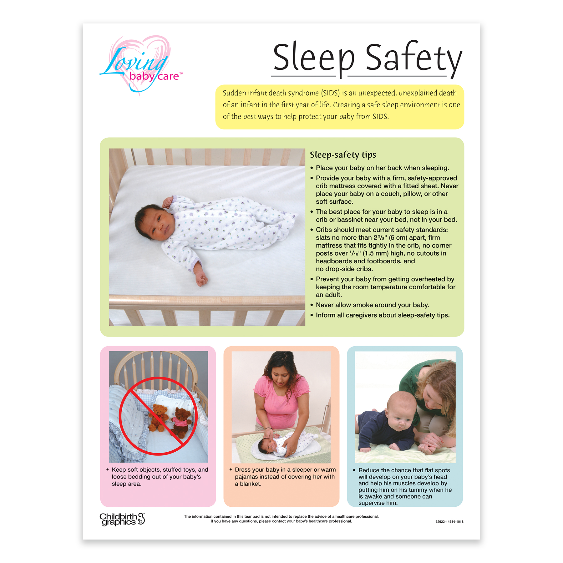Sleep Safety for babies full-color tear pad front, tips for putting your baby to bed, Childbirth Graphics 52622