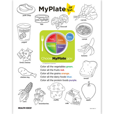 MyPlate for Kids color tear pad front, outline of foods & what to color each group, Health Edco, 52625