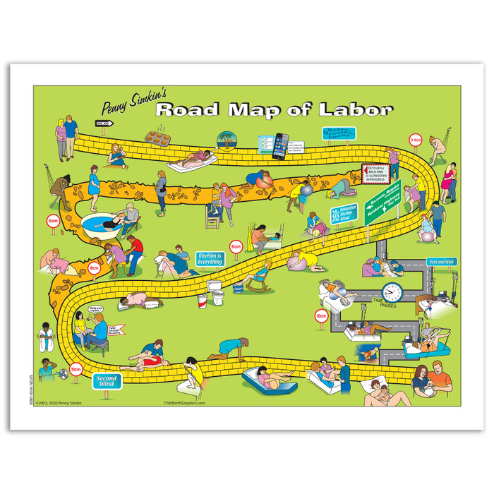 Penny Simkin's Road Map of Labor from Childbirth Graphics, handout for expectant parents for labor comfort measures, 52725