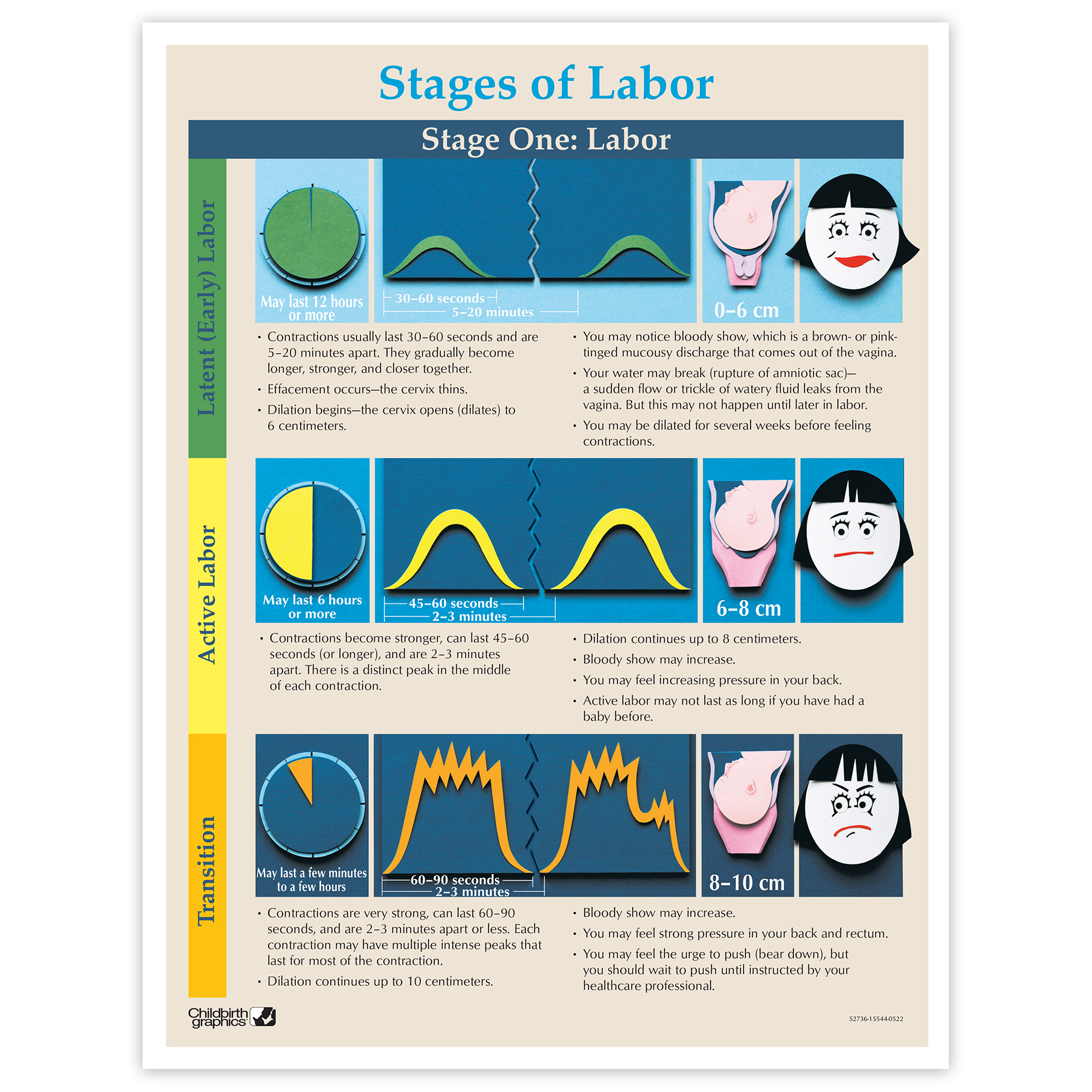 Stages Of Labor Educational Tear Pad Childbirth Graphics