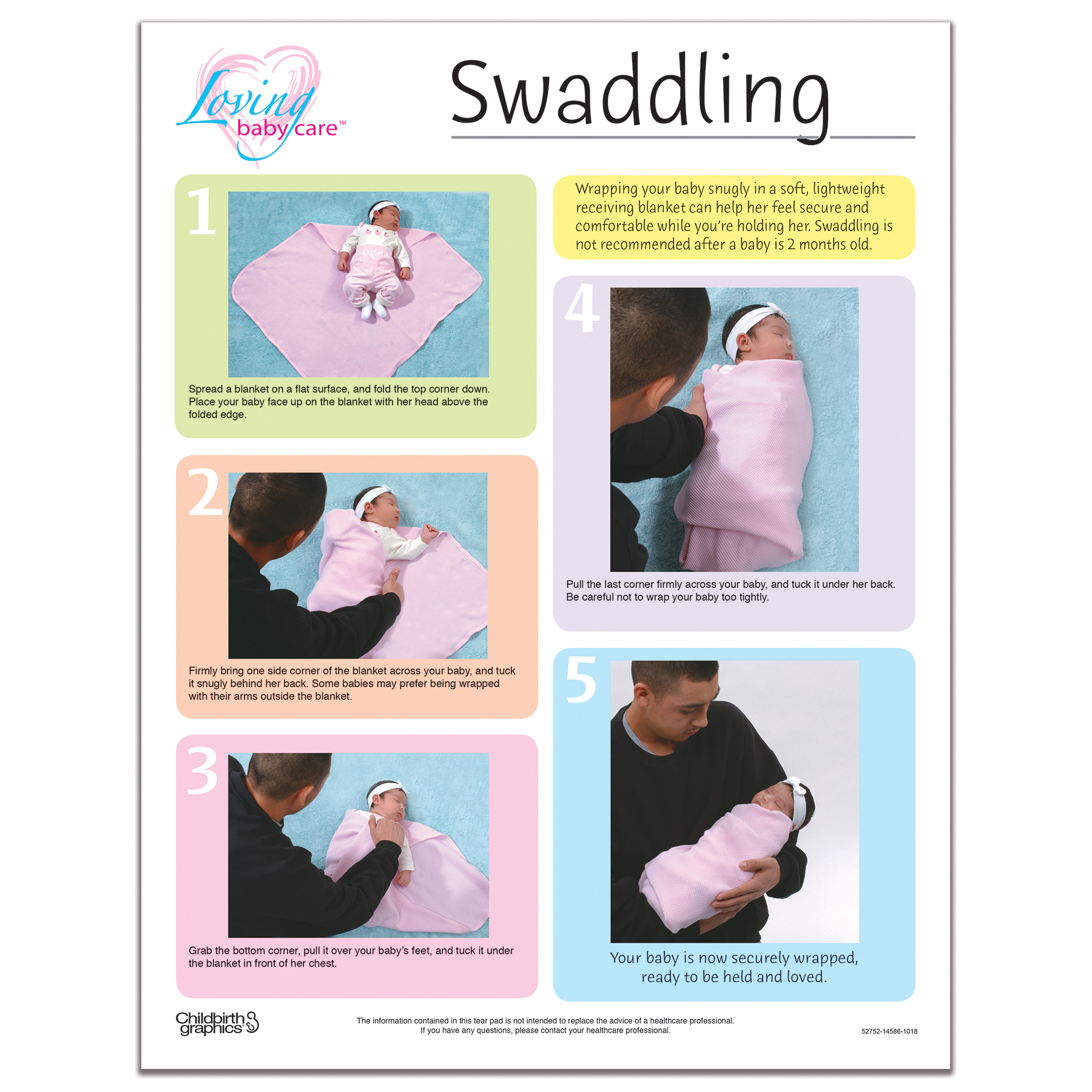 Swaddling your baby full color tear pad front, 5 step photographed swaddling process, Childbirth Graphics 52752