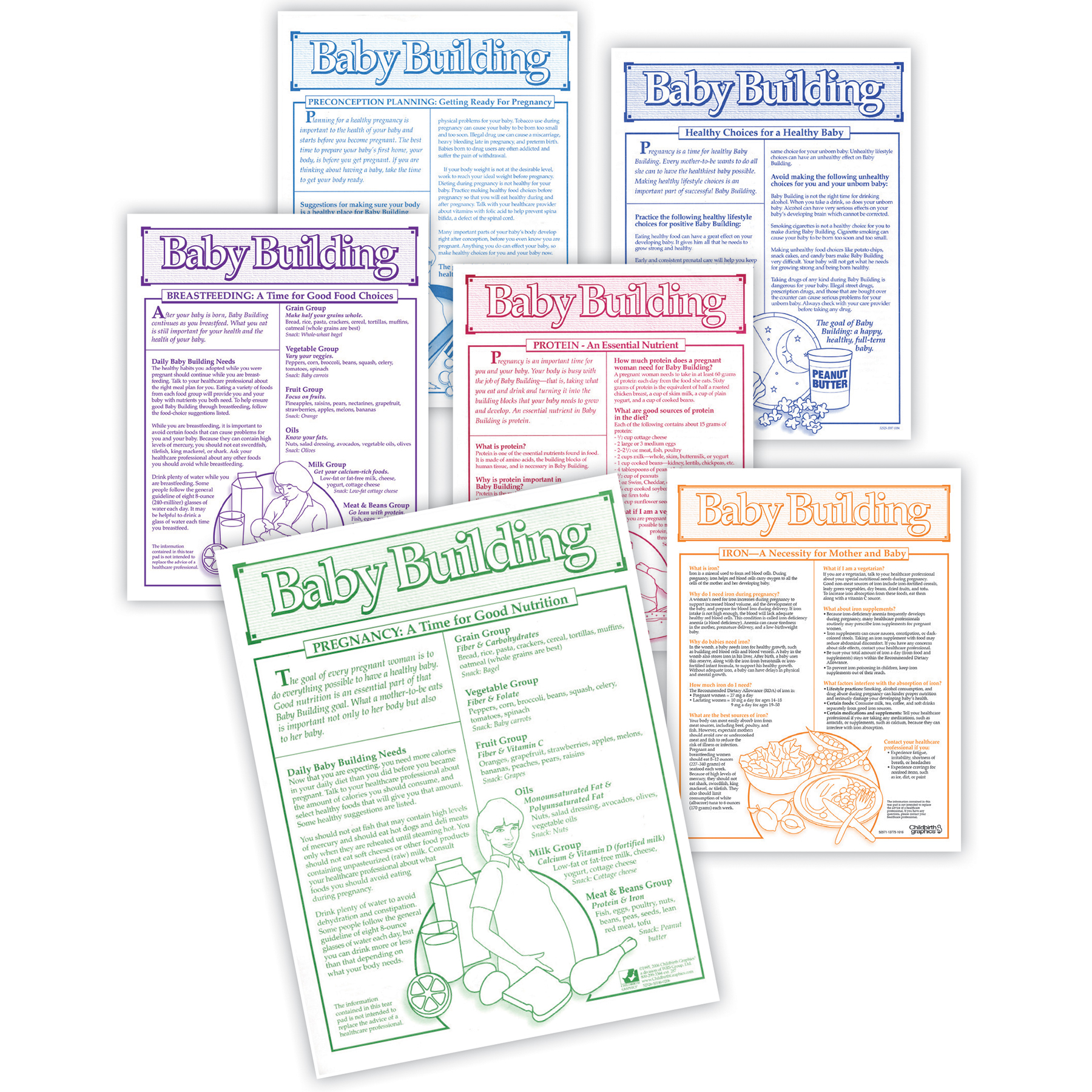 Baby Building Tear Pad Set (6), set of 6 tear pads about nutrition for babies and pregnancy, Childbirth Graphics, 52755