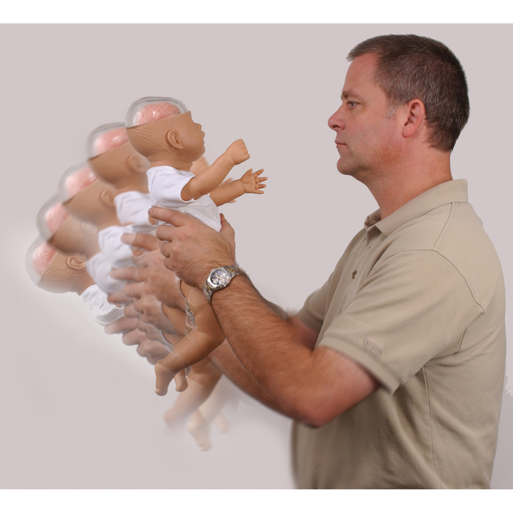 Shaken Baby Demonstration Model, man shaking doll wearing onesie with clear plastic head & pink brain inside, Health Edco, 53501