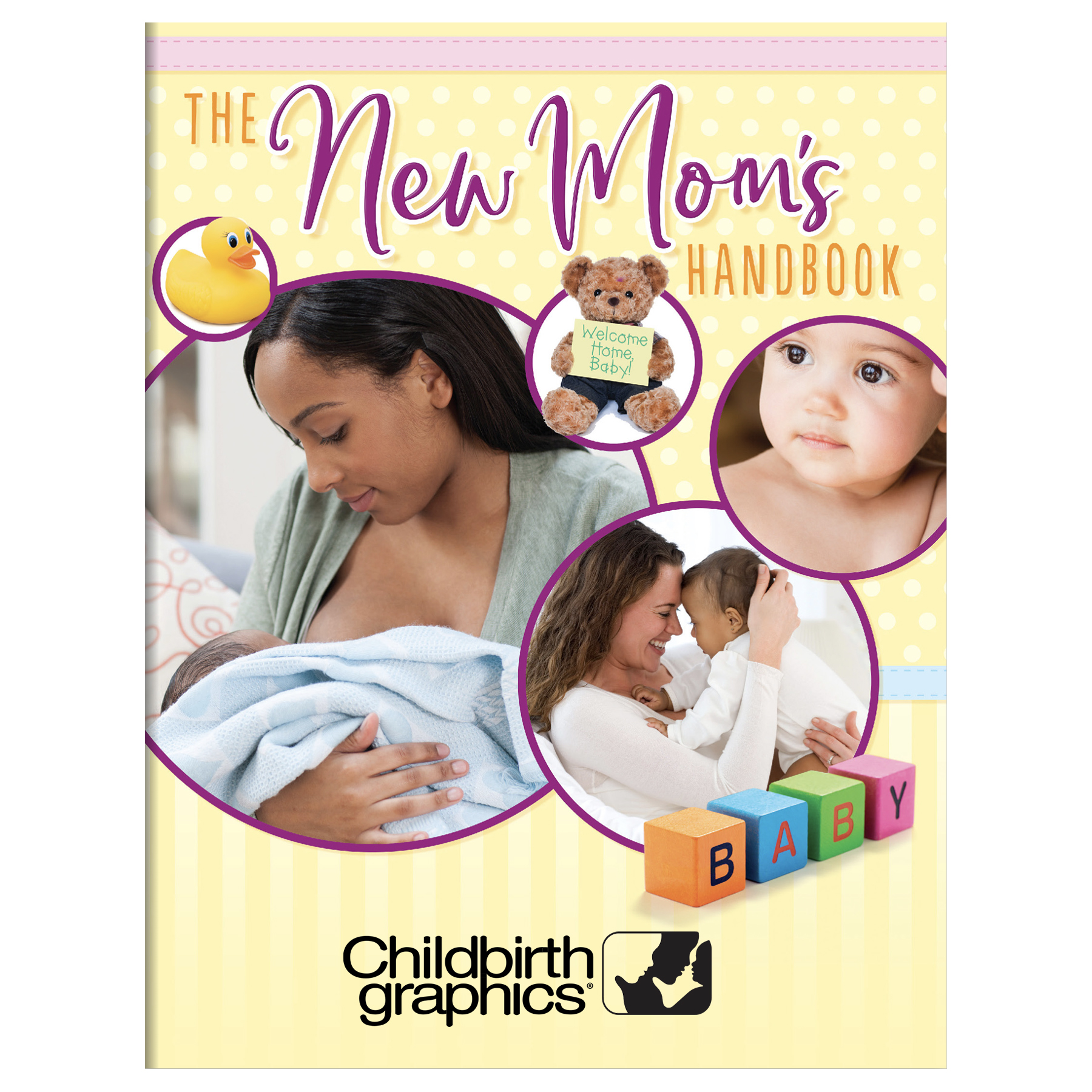 New Mom's Handbook cove,r mom and baby photo collage with baby blocks, Childbirth Graphics 53502