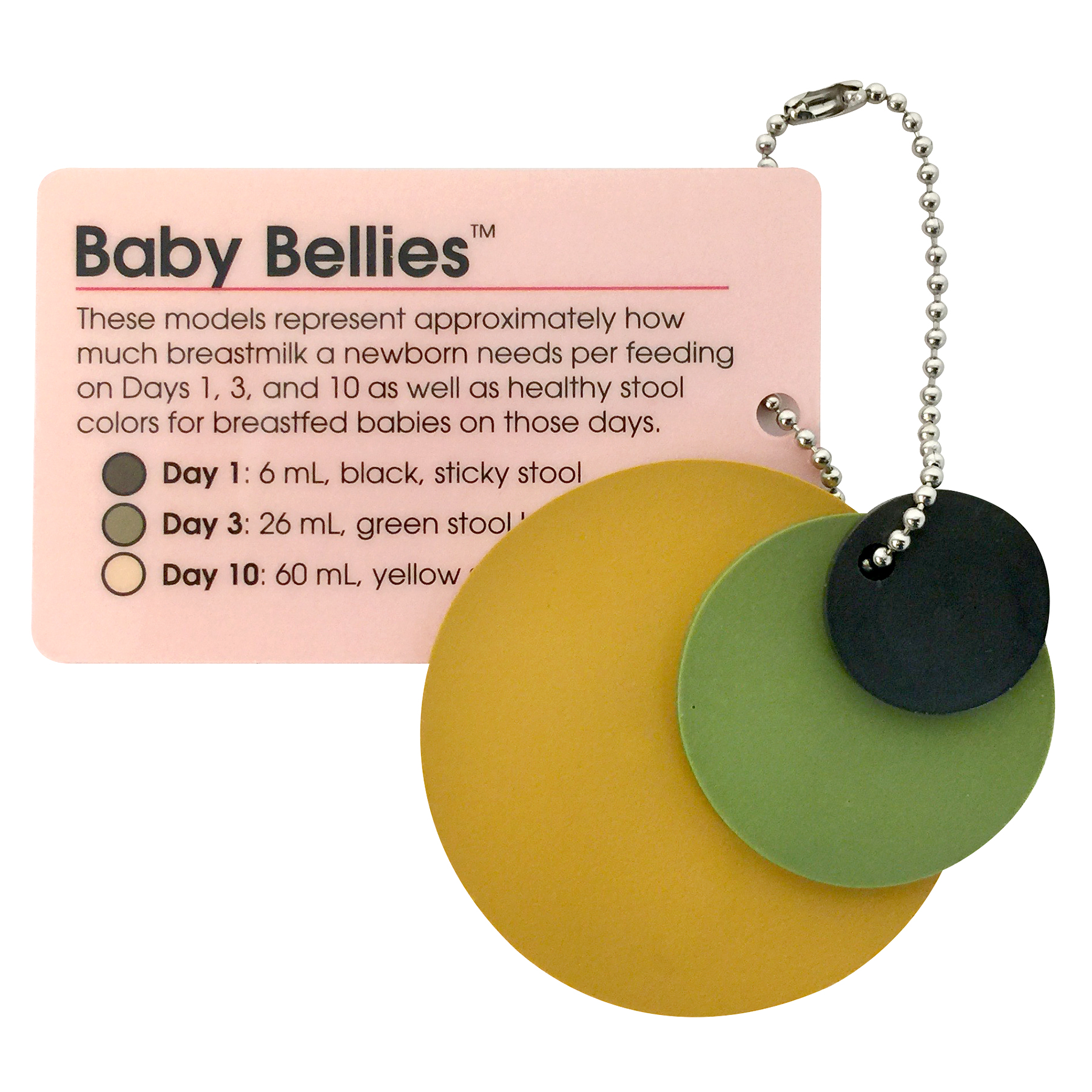 Baby Bellies Pocket Model Key Chain card & 3 sized colored disks represent size & color of stool, Childbirth Graphics 53526
