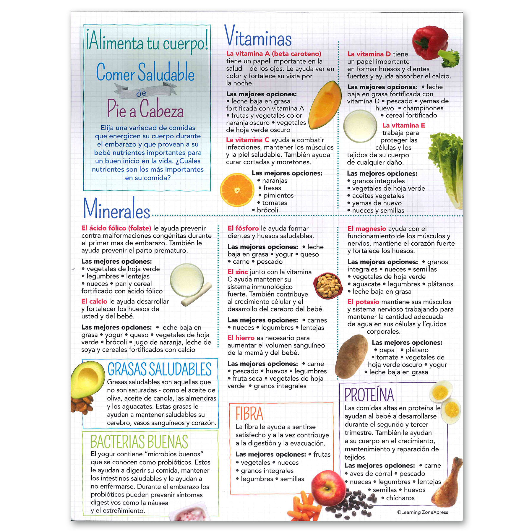 Healthy Eating from Head to Toe Expecting Moms Tear Pad Spanish, two sided foods to eat & avoid, Childbirth Graphics, 70110