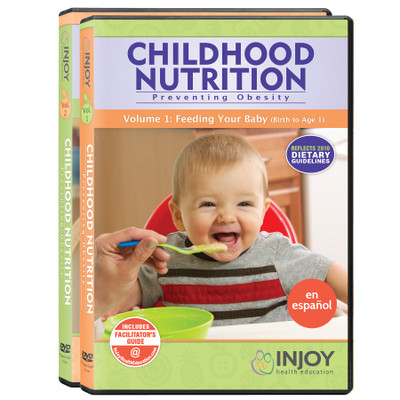 InJoy's Childhood Nutrition 2-Volume DVD Set, Spanish, available at Childbirth Graphics, parenting education materials, 71471