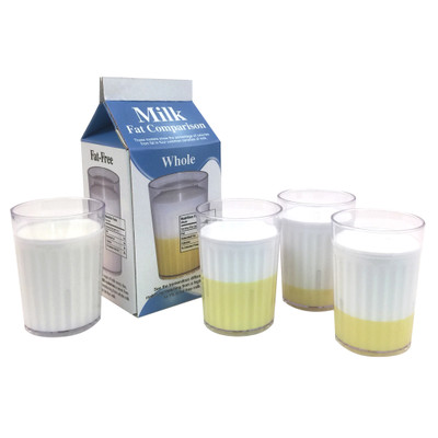 Milk Fat Comparison Display for nutrition and health education by Health Edco with models comparing four types of milk, 75077