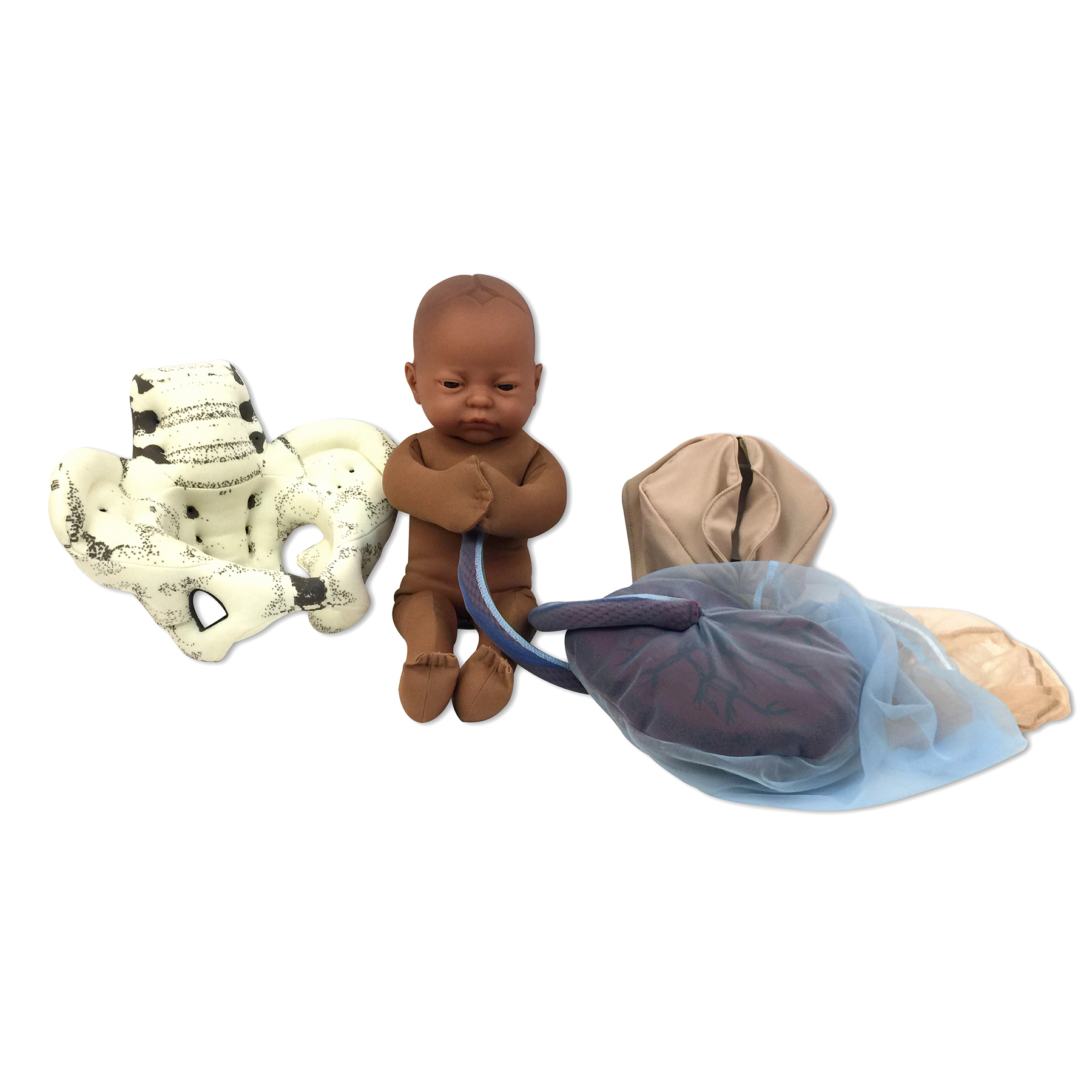 Cloth Pelvic Model Set for Childbirth Education with Fetal Model in brown skin tone, Childbirth Graphics, 78018