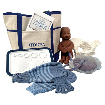 ICEA Childbirth Educator Tool Kit With Dark Brown Fetal Model by Childbirth Graphics, childbirth education teaching tools, 78832